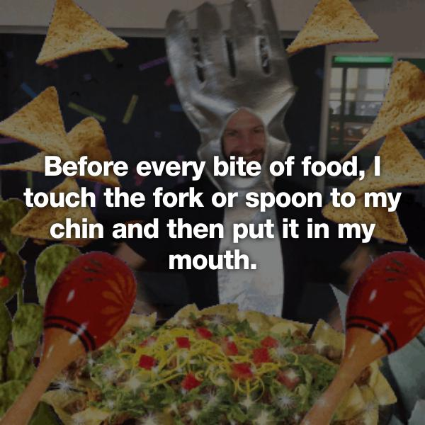 Touch Food To Chin Before Eating