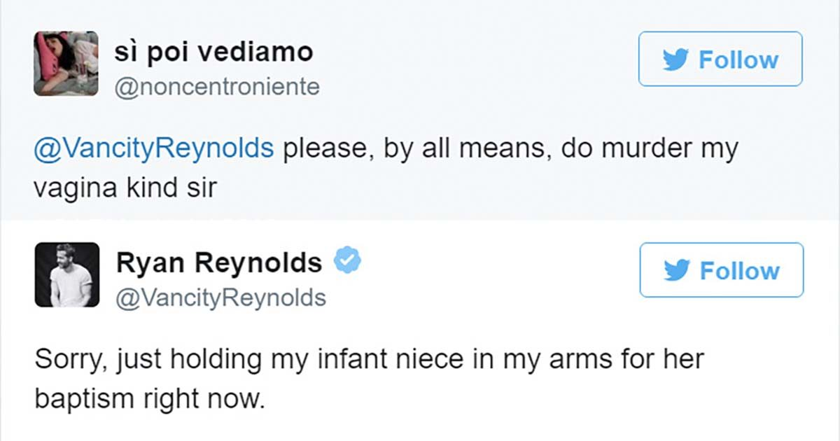 Ryan Reynolds Has Amazing Responses for These Vulgar Tweets