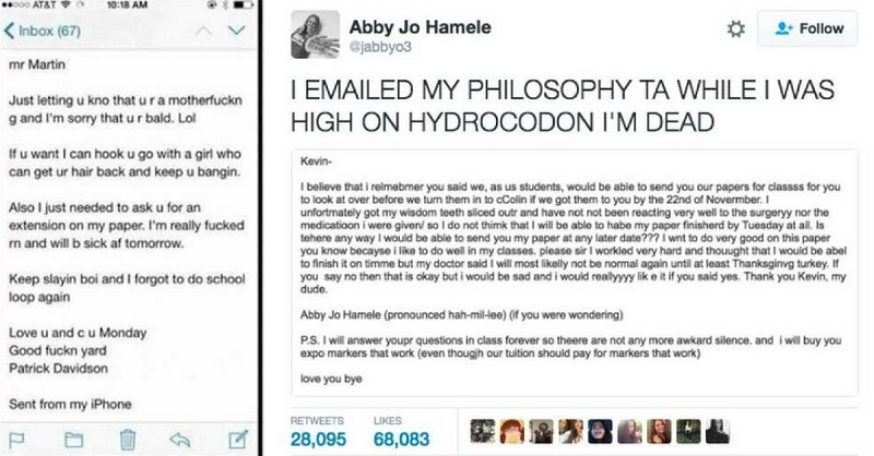 Students Sent Their Professors Emails While Under the