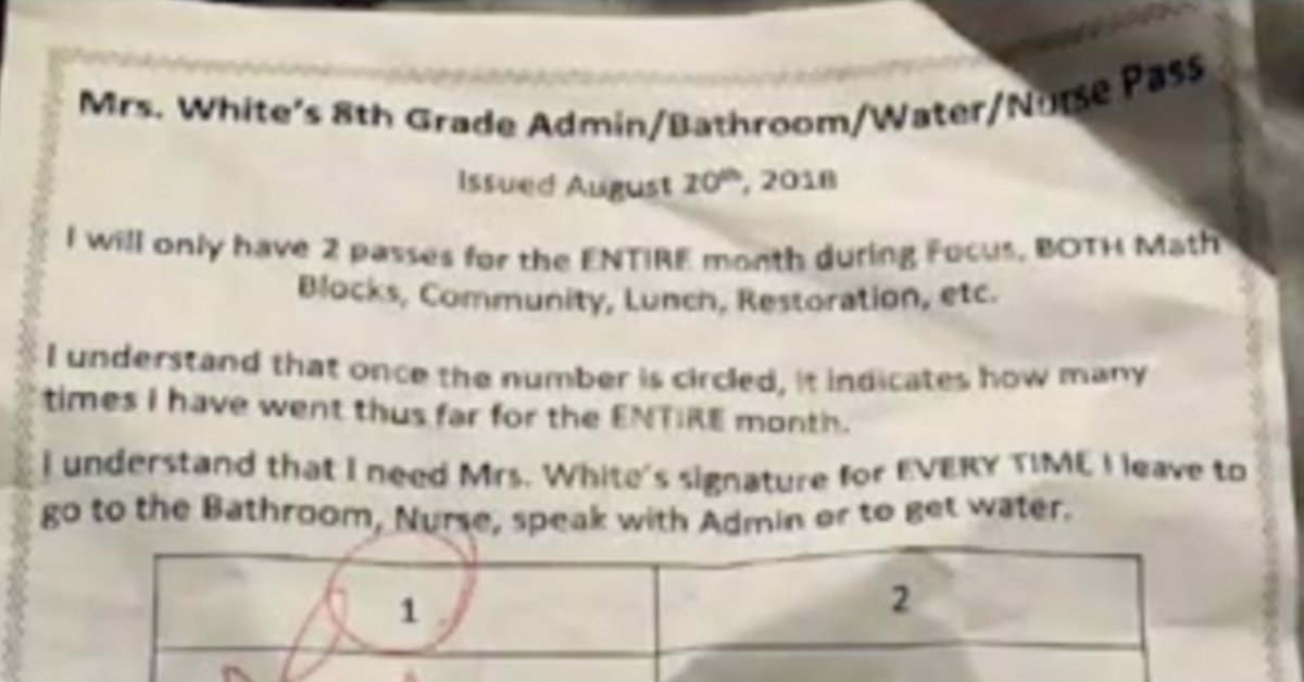 Teacher Under Investigation After Issuing Problematic 'Twice-A-Month Hall Pass' To Students