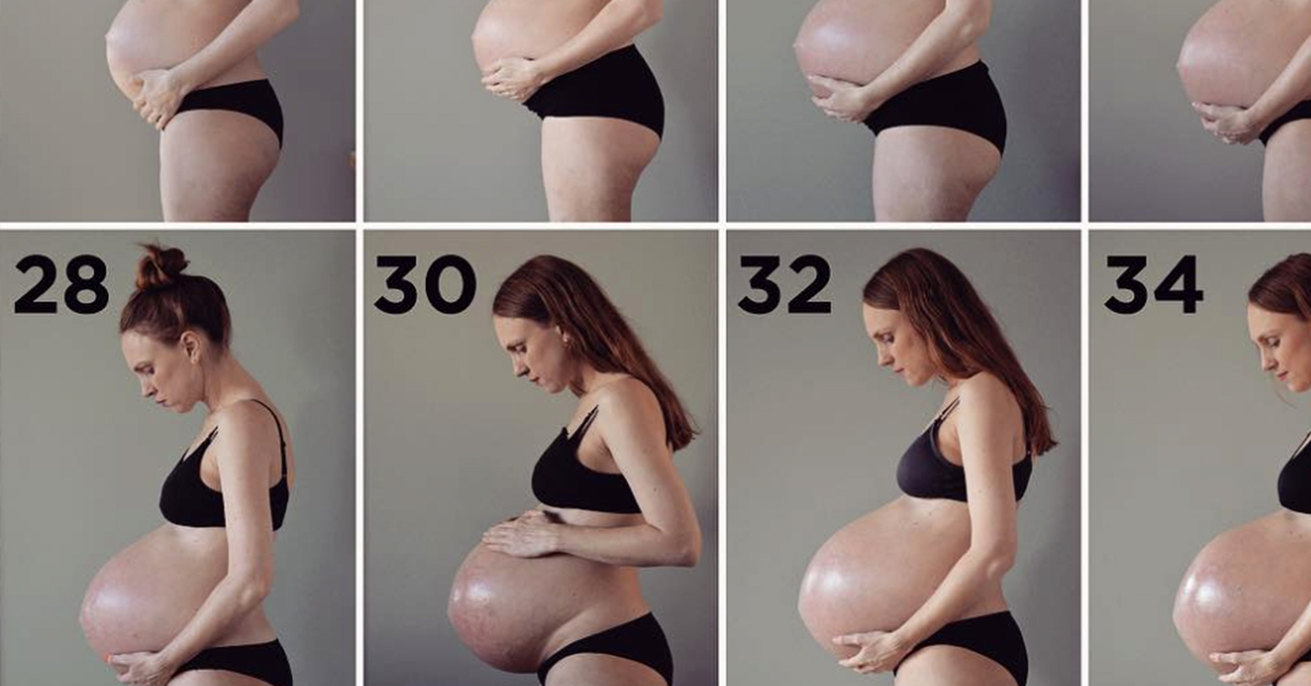 This Mom Carrying Triplets Shows The Weekly Progression And It'll Make Your Jaw Drop