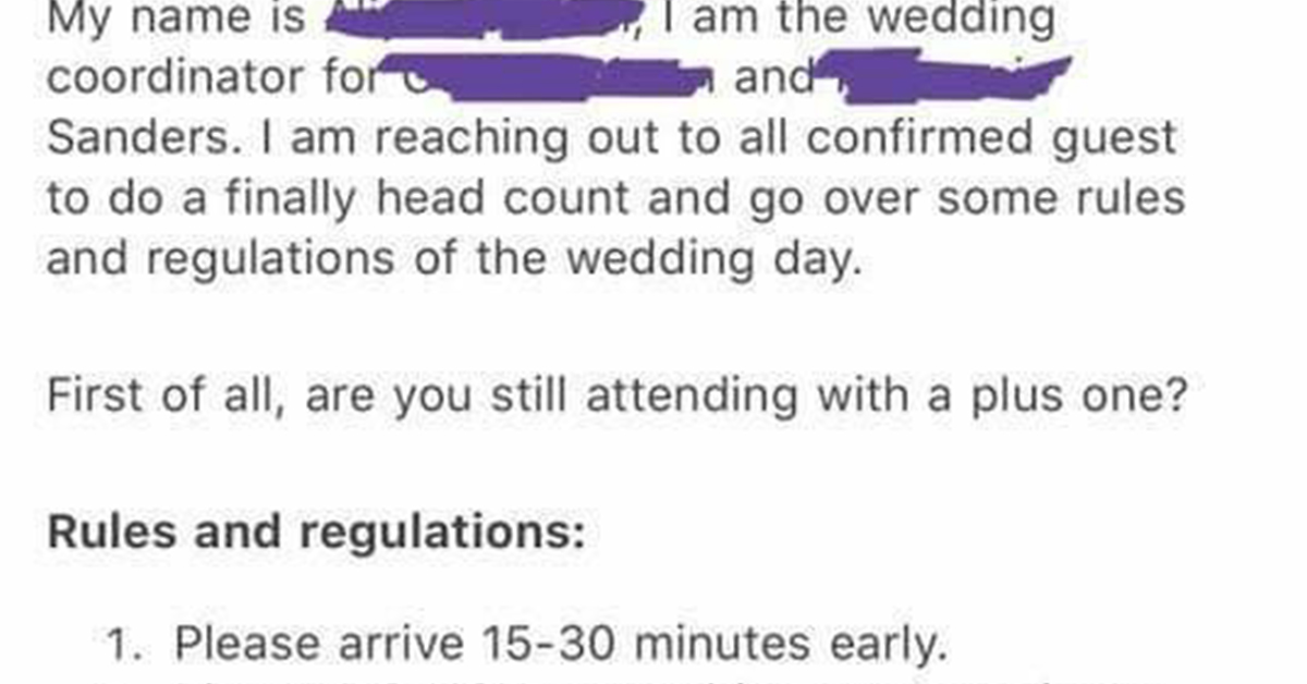 People Can't Stop Roasting This Bridezilla's List Of Batsh*t Wedding 'Rules And Regulations'